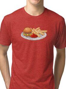 Pixel Burger Tri-blend T-Shirt
