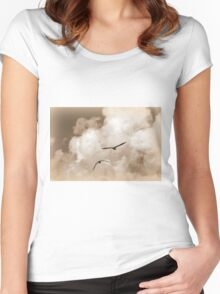 seagull fly in the sky Women's Fitted Scoop T-Shirt