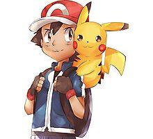 Satoshi & Pikachu | Ash & Pikachu Photographic Print