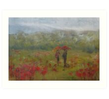 Wet fields, Giverny Art Print