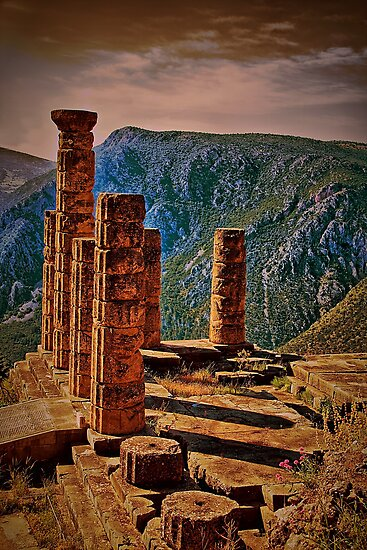 Greece. Delphi. The Ruins of Temple of Apollo. by vadim19