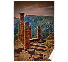 Greece. Delphi. The Ruins of Temple of Apollo. Poster