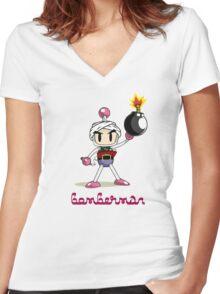 Osama Bin Bomberman Women's Fitted V-Neck T-Shirt