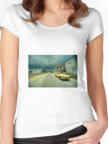 Yellow storm car  Women's Fitted Scoop T-Shirt