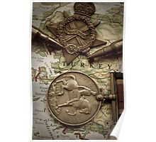 WW1 medals over atlas Poster