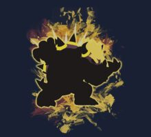 Super Smash Bros Yellow Bowser Silhouette One Piece - Short Sleeve