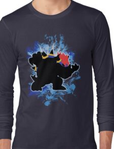 Super Smash Bros. Blue Bowser Silhouette Long Sleeve T-Shirt