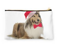 Santa Collie Christmas Studio Pouch