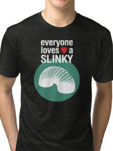 Slinky! [WHITE TEXT] Tri-blend T-Shirt