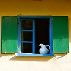 Farmhouse window with pitcher by Laurel Eby