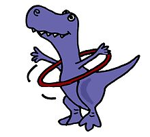 Hilarious Blue T-Rex Dinosaur and Hula Hoop by naturesfancy