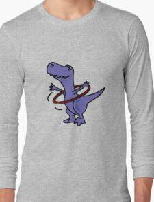 Hilarious Blue T-Rex Dinosaur and Hula Hoop Long Sleeve T-Shirt