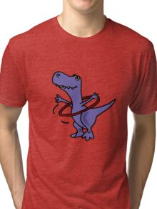 Hilarious Blue T-Rex Dinosaur and Hula Hoop Tri-blend T-Shirt