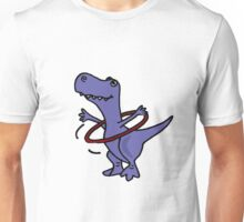 Hilarious Blue T-Rex Dinosaur and Hula Hoop Unisex T-Shirt