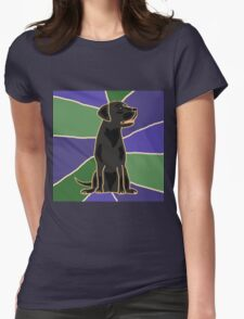 Fun Black Labrador Retriever Art Abstract Womens Fitted T-Shirt