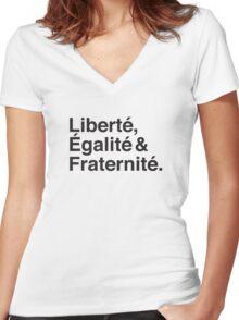Liberté,  Égalité & Fraternité. Women's Fitted V-Neck T-Shirt