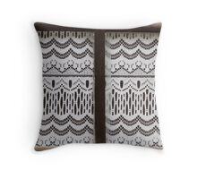 curtains at the window Throw Pillow