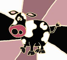 Funky Black and White Cow Abstract Art Original by naturesfancy