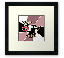 Funky Black and White Cow Abstract Art Original Framed Print