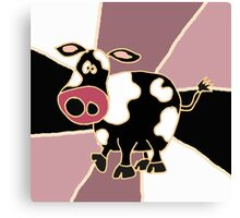 Funky Black and White Cow Abstract Art Original Canvas Print