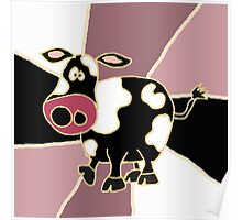 Funky Black and White Cow Abstract Art Original Poster