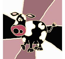 Funky Black and White Cow Abstract Art Original Photographic Print