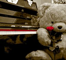 The teddy bear the piano and the rose flower by Byzas