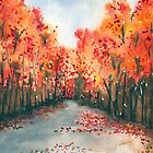 Autumn Journey - Landscape Watercolour by Brazen Edwards