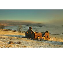 Derelict house sitting quietly among the fields.  Photographic Print