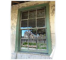 Cottage reflection, Hill End, NSW Poster