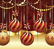 Decorative Gold Xmas Balls 3 by AnnArtshock