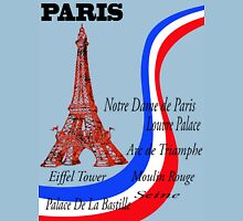 Paris sights and flag Unisex T-Shirt