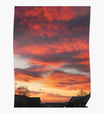 Crimson Sky at Sunrise - Warsaw, Indiana Poster