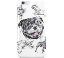 Mixed Media - Staffordshire Bull Terriers iPhone Case/Skin