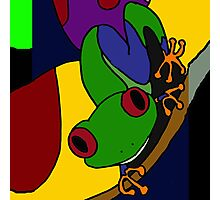 Funky Green and Blue Tree Frog Abstract Art Original Photographic Print