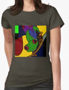 Funky Green and Blue Tree Frog Abstract Art Original T-Shirt