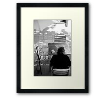peoplescapes #319, two packets and a walking stick Framed Print