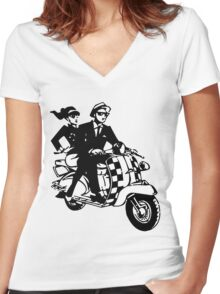 Ska Couple on Scooter Women's Fitted V-Neck T-Shirt