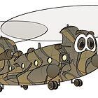Chinook Military Helicopter Cartoon by Graphxpro