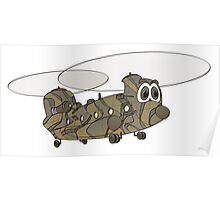 Chinook Military Helicopter Cartoon Poster