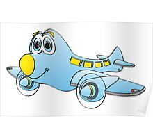 Blue Yellow Nose Airplane Cartoon Poster