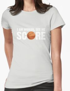 See Me Score - Basketball White Text Womens Fitted T-Shirt