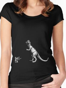 Dinosaur vs soldiers Women's Fitted Scoop T-Shirt