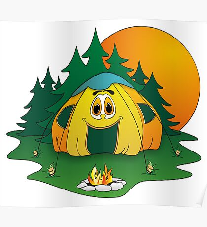 Camping Tent Cartoon Poster