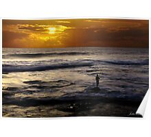 Sunset Fishing, Kalbarri, Western Australia Poster