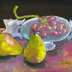 still life with grapes and pears by Elena Malec