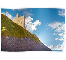 ballybunion castle with the cliff face Poster