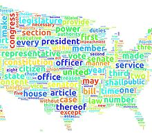 US Constitution Word Cloud Map on White Background by ramiro