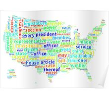 US Constitution Word Cloud Map on White Background Poster