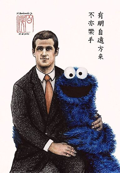 John&Cookie Monster by Wieslaw Borkowski